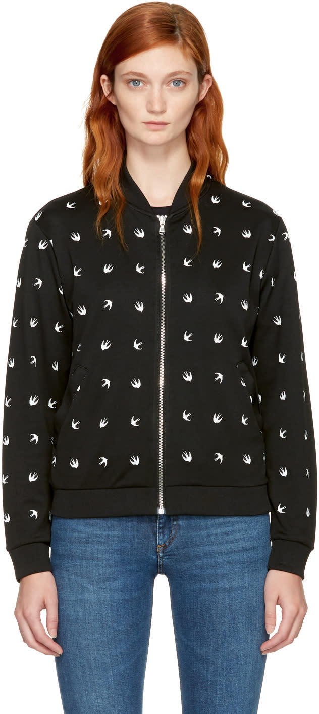 Image of Mcq Alexander Mcqueen Black and White Micro Swallow Bomber Jacket