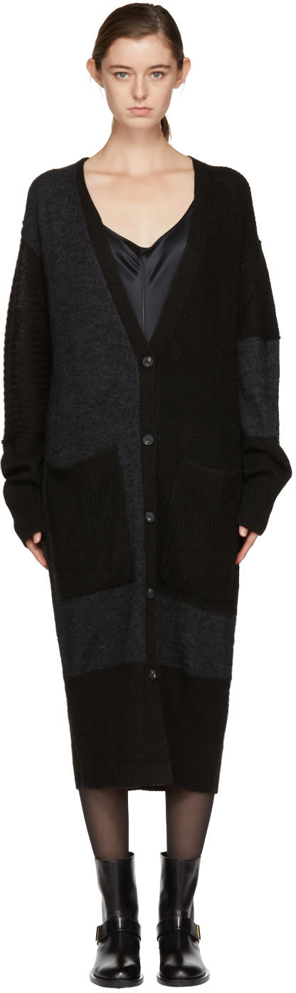 Image of Mcq Alexander Mcqueen Black and Grey Patched Long Cardigan