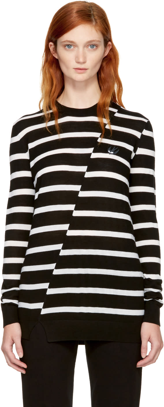 Image of Mcq Alexander Mcqueen Black and White Distort Stripe Swallow Badge Sweater