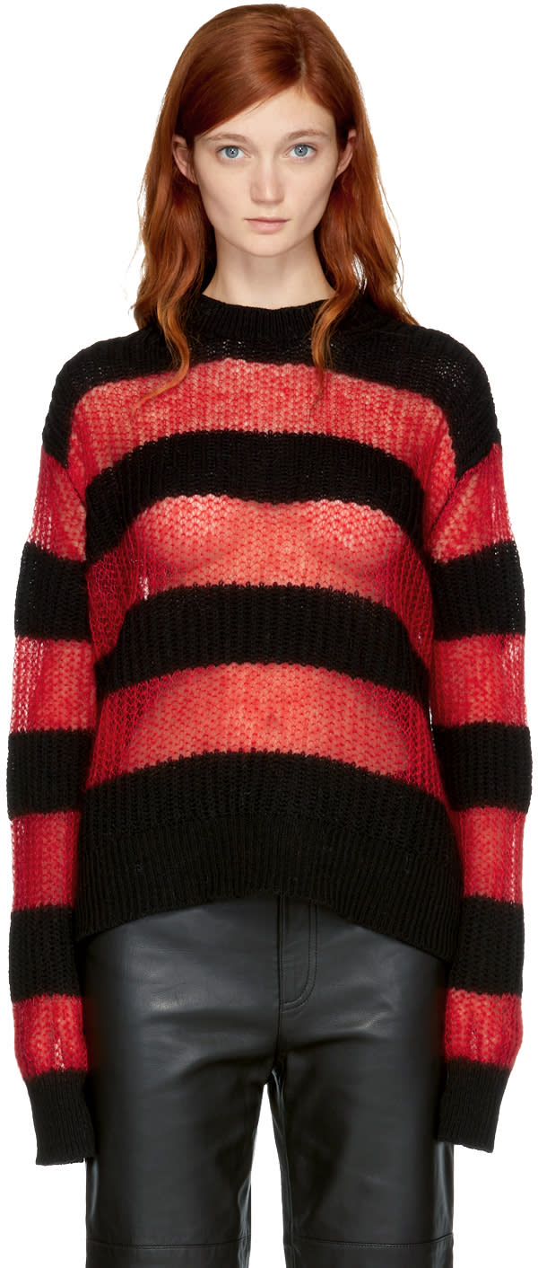 Image of Mcq Alexander Mcqueen Black and Red Striped Crewneck Sweater