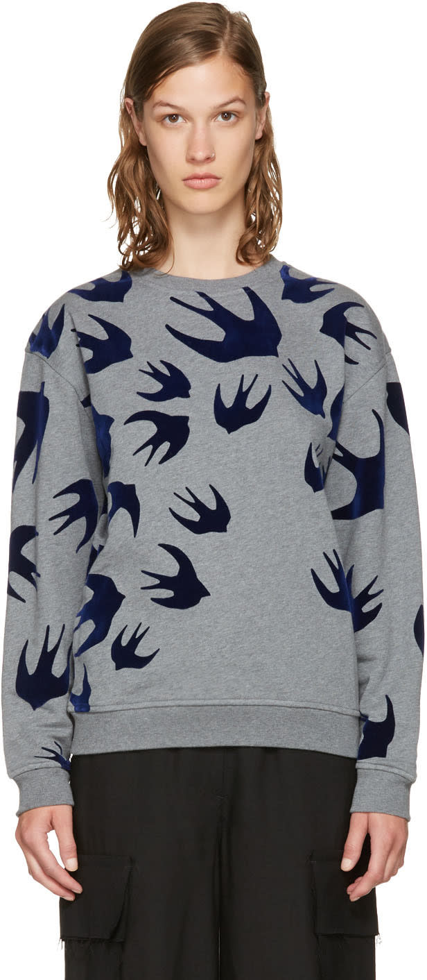 Mcq Alexander Mcqueen Grey and Navy Swallows Sweatshirt