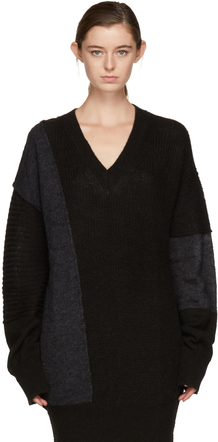 Image of Mcq Alexander Mcqueen Black and Grey Patched V-neck Sweater Dress
