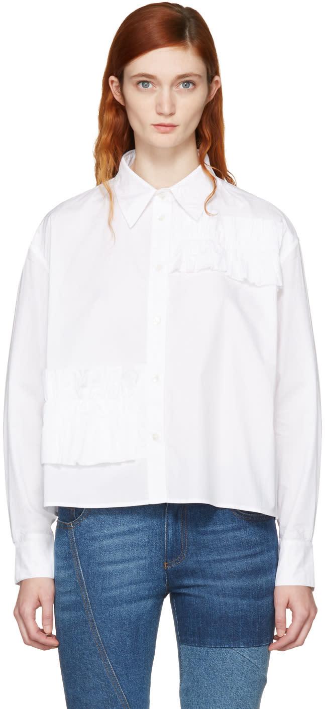 Mcq Alexander Mcqueen White Cropped Ruffle Shirt
