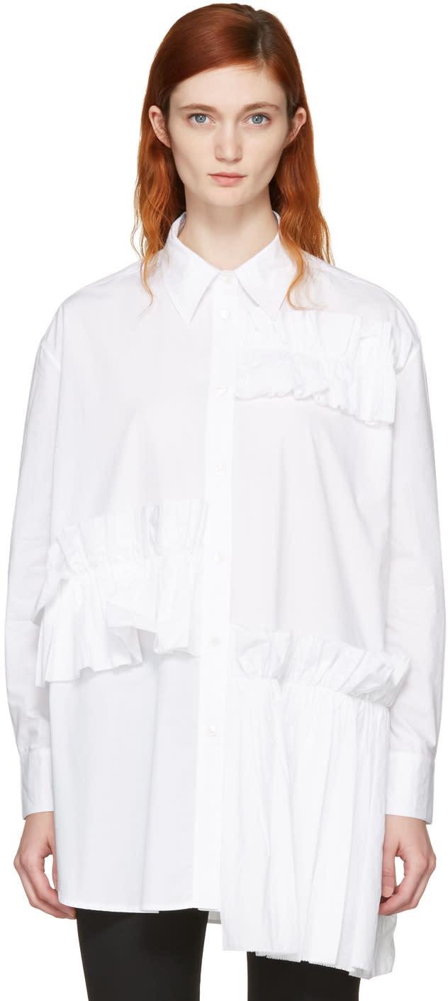 Mcq Alexander Mcqueen White Ruffle Tunic Shirt
