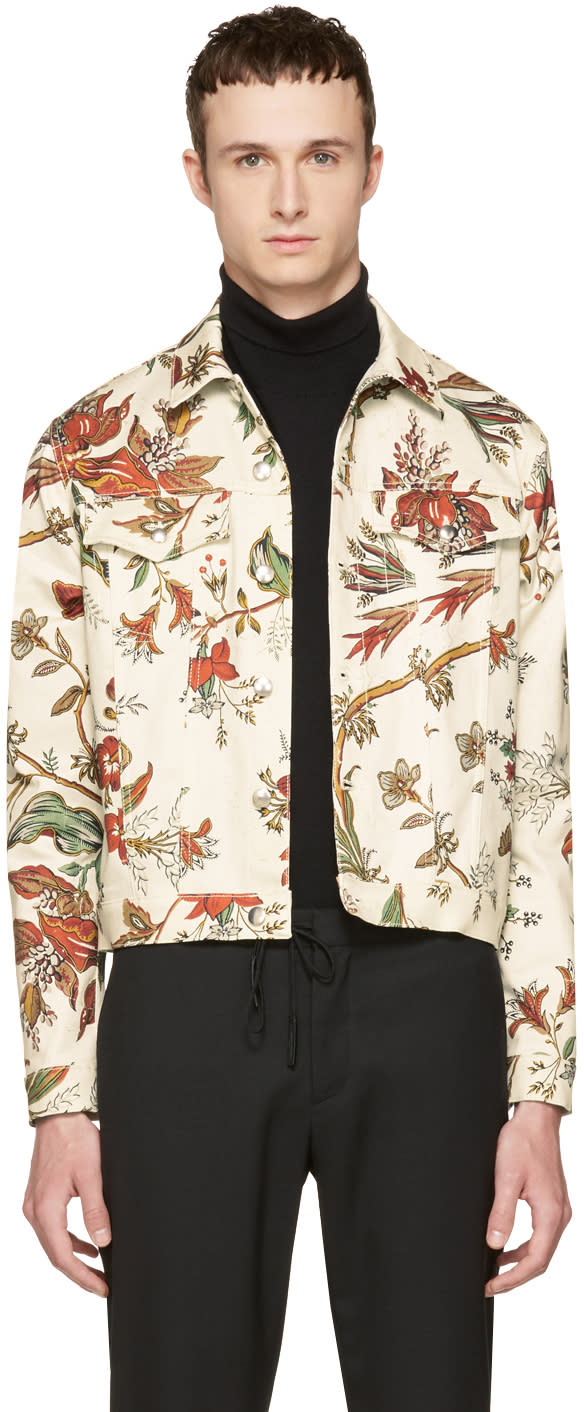 Mcq Alexander Mcqueen Beige Denim Floral Billy Jacket