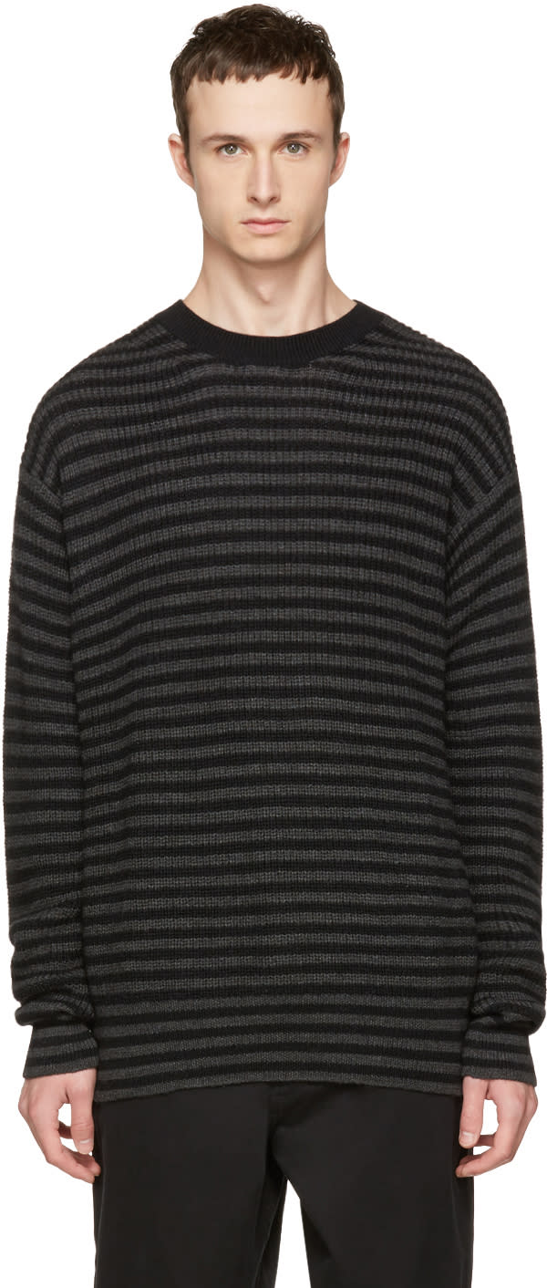 Mcq Alexander Mcqueen Black and Grey Striped Wool Sweater