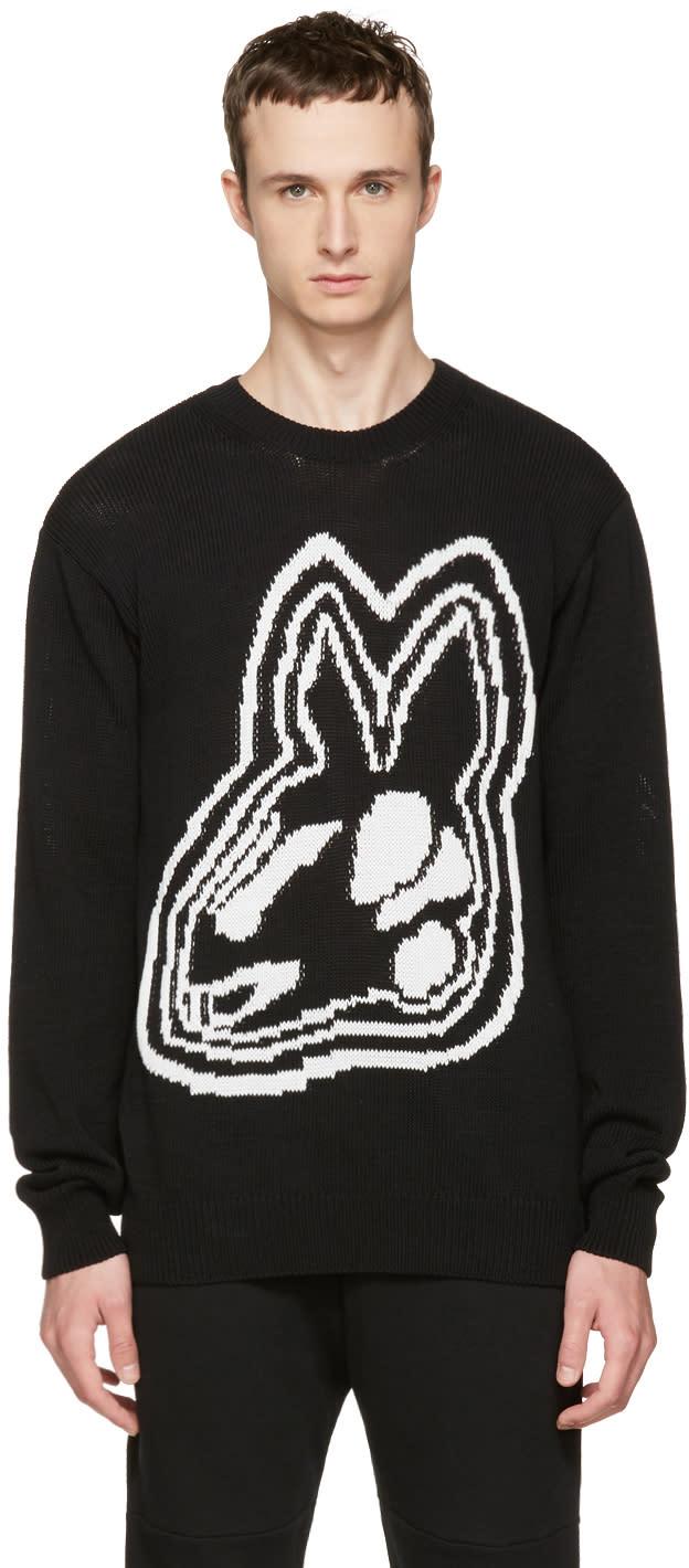 Mcq Alexander Mcqueen Black Intarsia Bunny Sweater