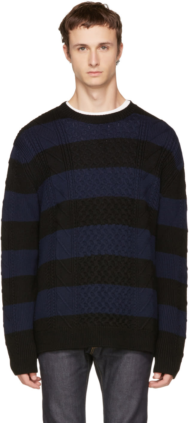 Image of Mcq Alexander Mcqueen Black and Navy Striped Cable Crewneck Sweater