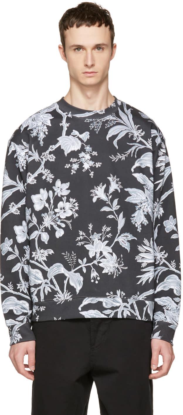 Mcq Alexander Mcqueen Grey Oversized Floral Sweatshirt