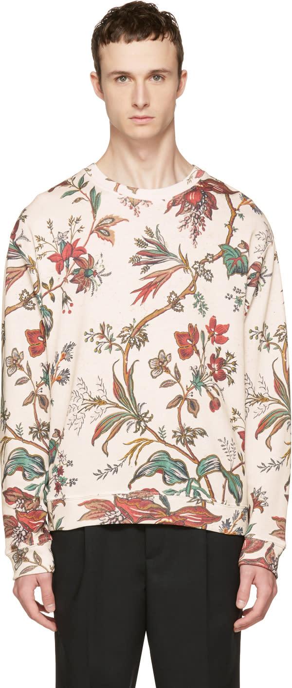 Mcq Alexander Mcqueen Beige Oversized Floral Sweatshirt