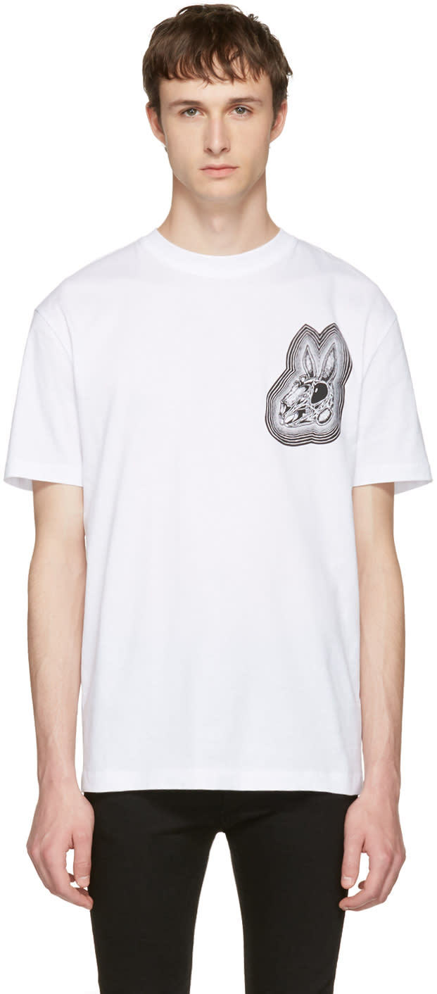 Mcq Alexander Mcqueen White bunny Be Here Now T-shirt