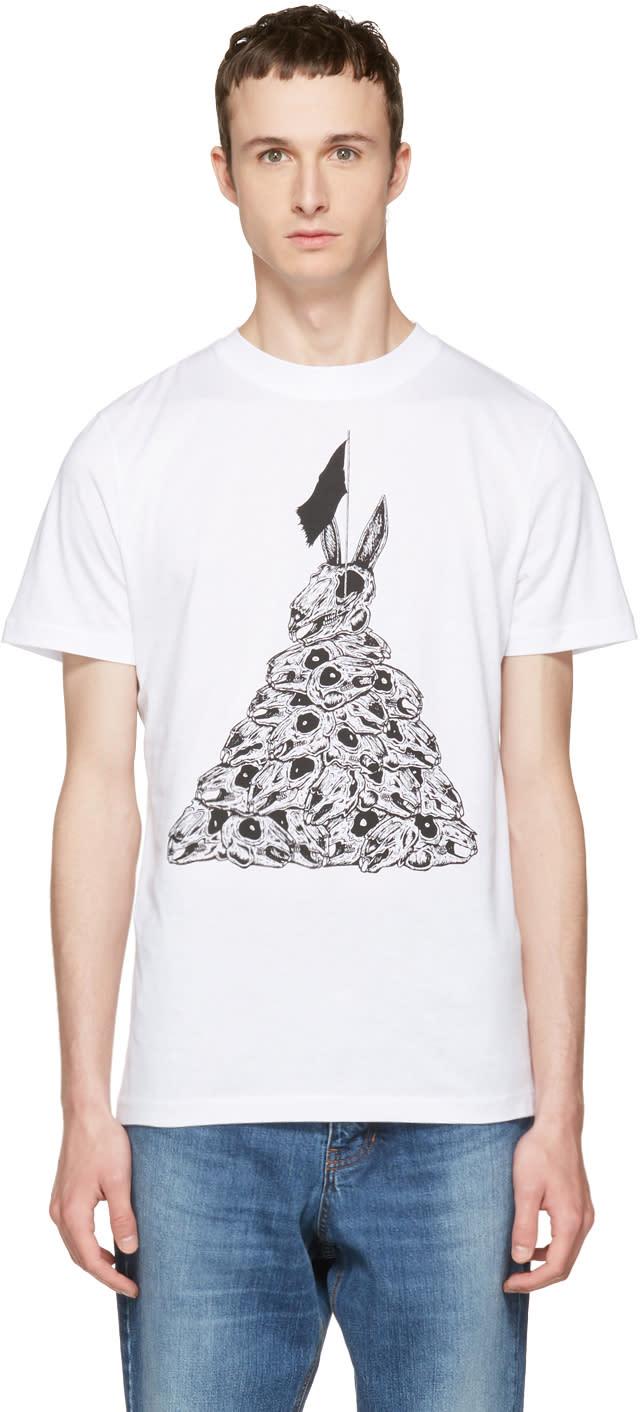 Mcq Alexander Mcqueen White Bunny Flag T-shirt