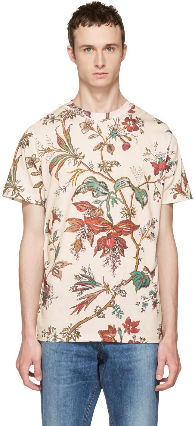 Image of Mcq Alexander Mcqueen Beige Floral T-shirt