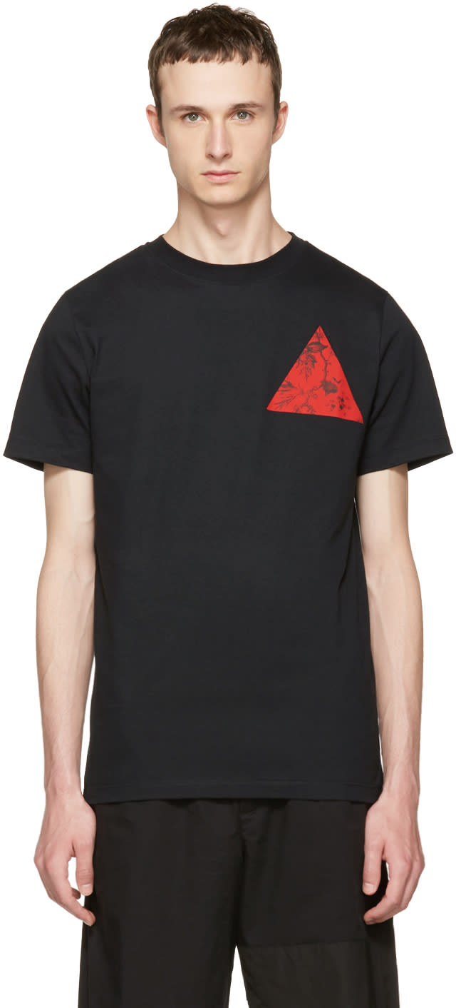 Mcq Alexander Mcqueen Black Floral Double Triangle T-shirt