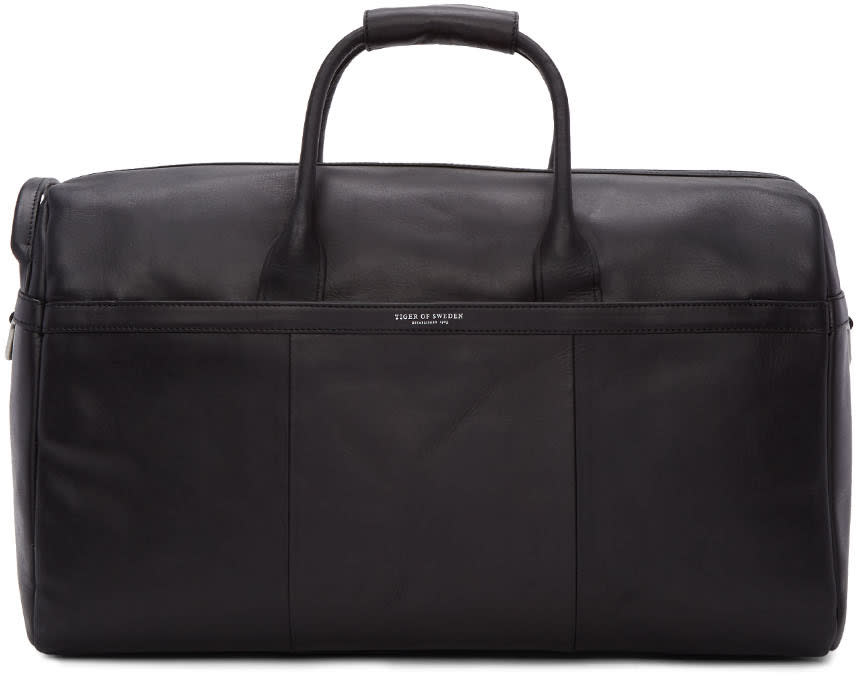Tiger Of Sweden Black Leather Lavonen Duffle Bag