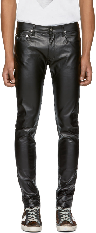 Image of April77 Black Faux-leather Joey Lezzer Jeans