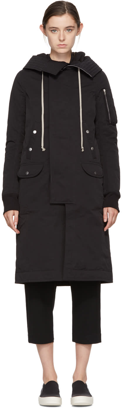 Image of Rick Owens Drkshdw Black Nylon Long Hooded Bomber Coat