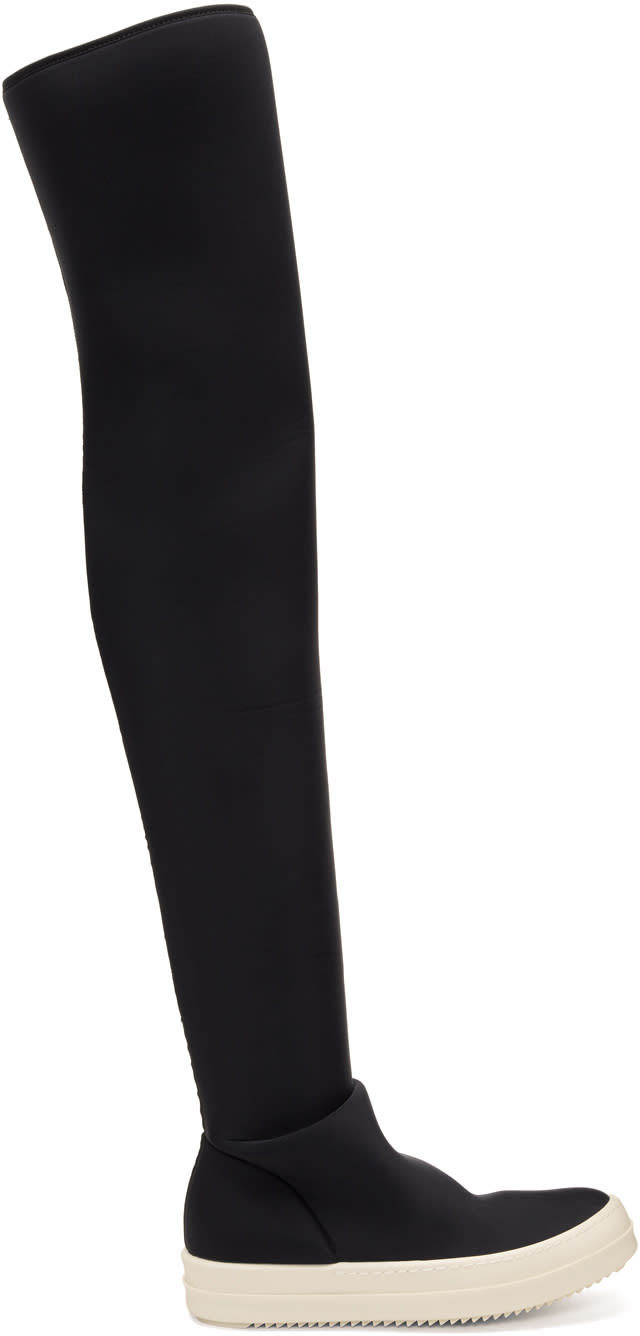 Image of Rick Owens Drkshdw Black Vegan Stocking Over-the-knee Boots