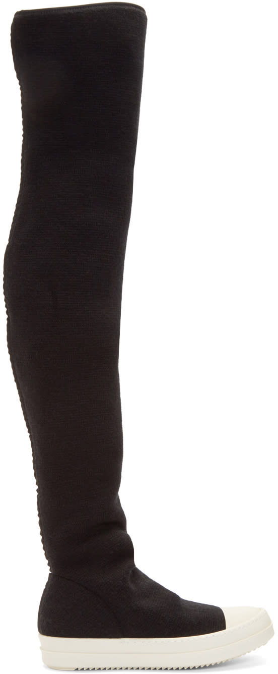 Rick Owens Drkshdw Black Wool Stocking Over-the-knee Boots