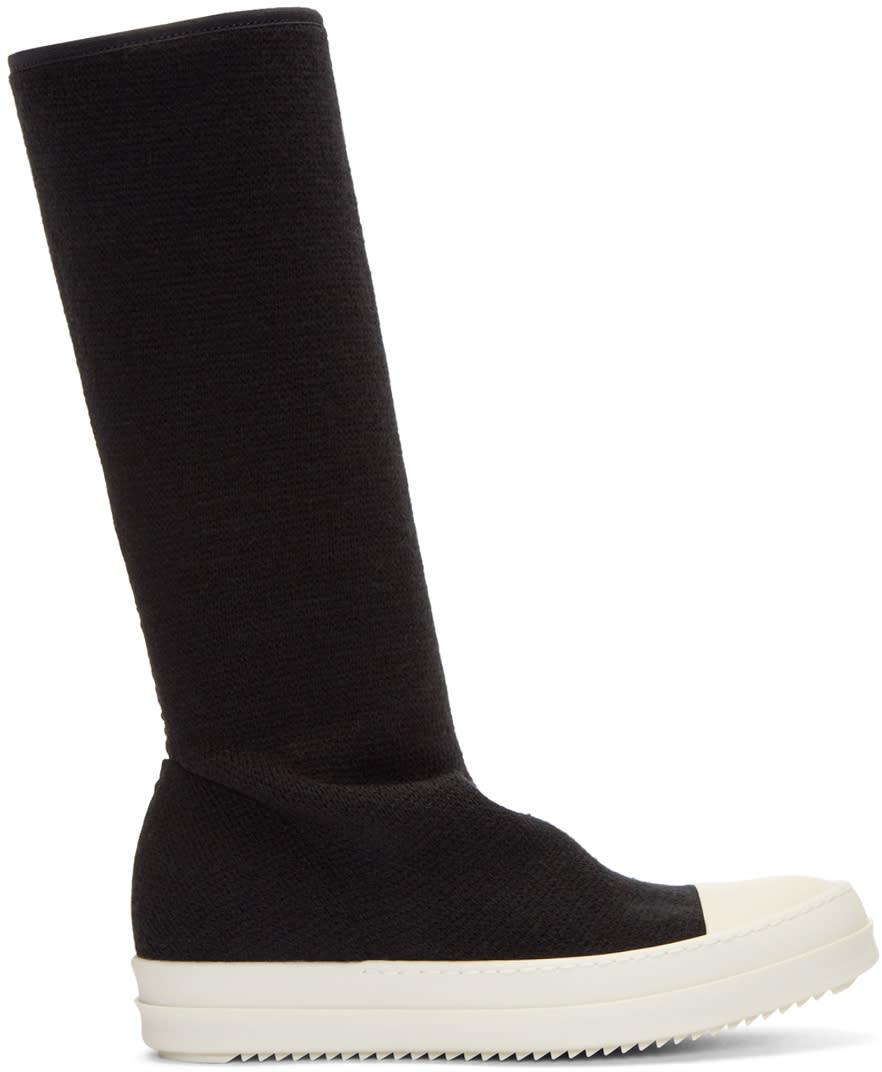 Rick Owens Drkshdw Black Wool Sock Cap Toe Boots