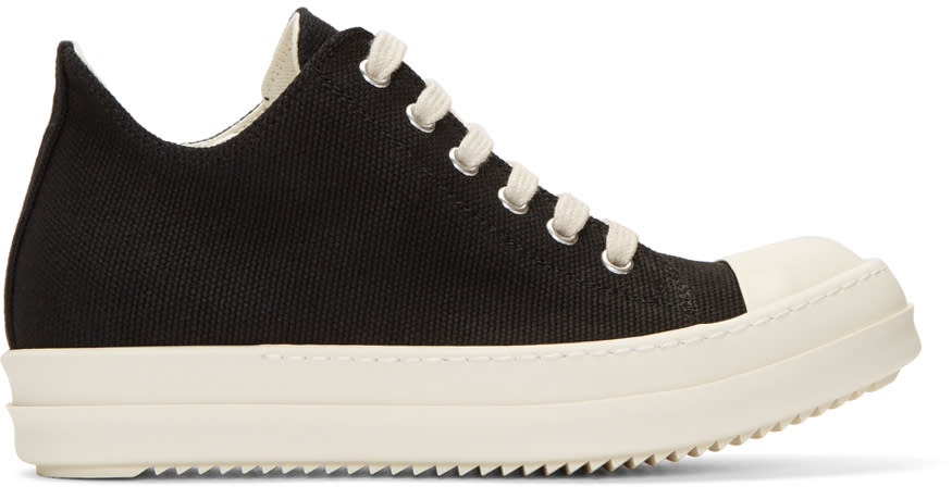 Image of Rick Owens Drkshdw Black Canvas Cap Toe Sneakers