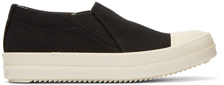 Image of Rick Owens Drkshdw Black Canvas Boat Slip-on Sneakers