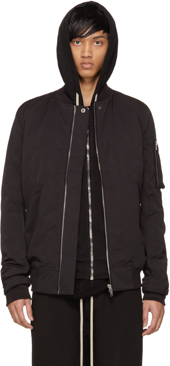 Image of Rick Owens Drkshdw Black Cotton and Nylon Flight Jacket