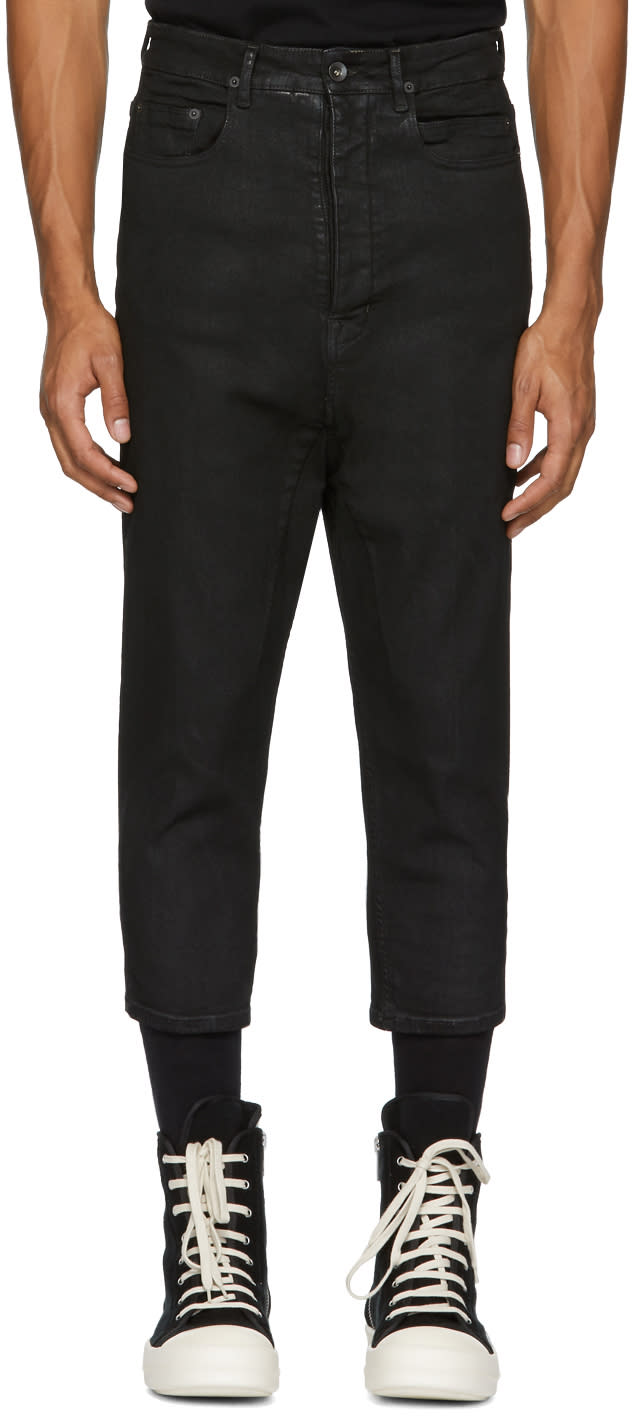 Image of Rick Owens Drkshdw Black Cropped Astaires Jeans