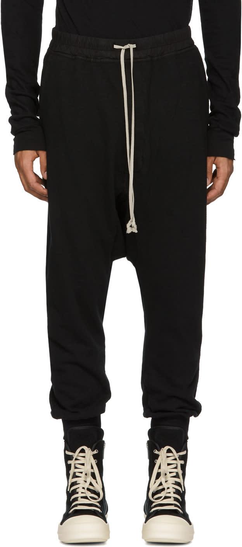 Image of Rick Owens Drkshdw Black Prisoner Drawstring Lounge Pants