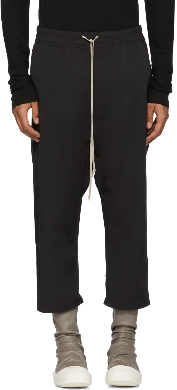 Image of Rick Owens Drkshdw Black Nylon Drawstring Cropped Lounge Pants