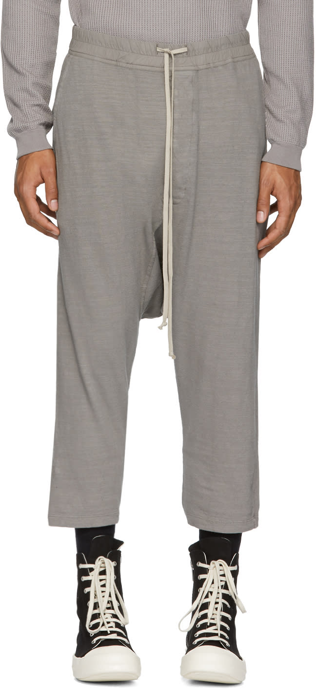 Image of Rick Owens Drkshdw Grey Drawstring Cropped Lounge Pants