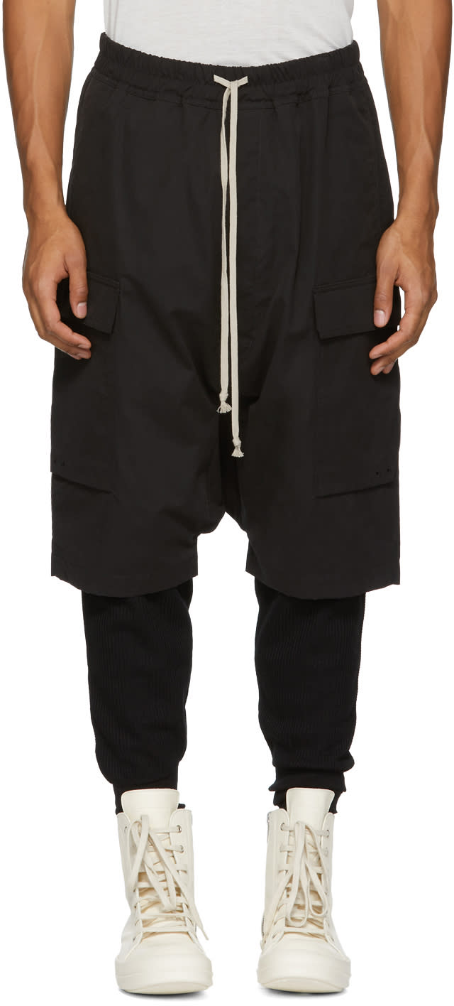 Image of Rick Owens Drkshdw Black Water-repellent Cargo Pods Shorts