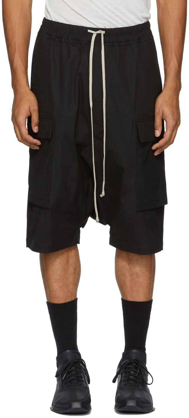 Image of Rick Owens Drkshdw Black Cargo Pods Shorts