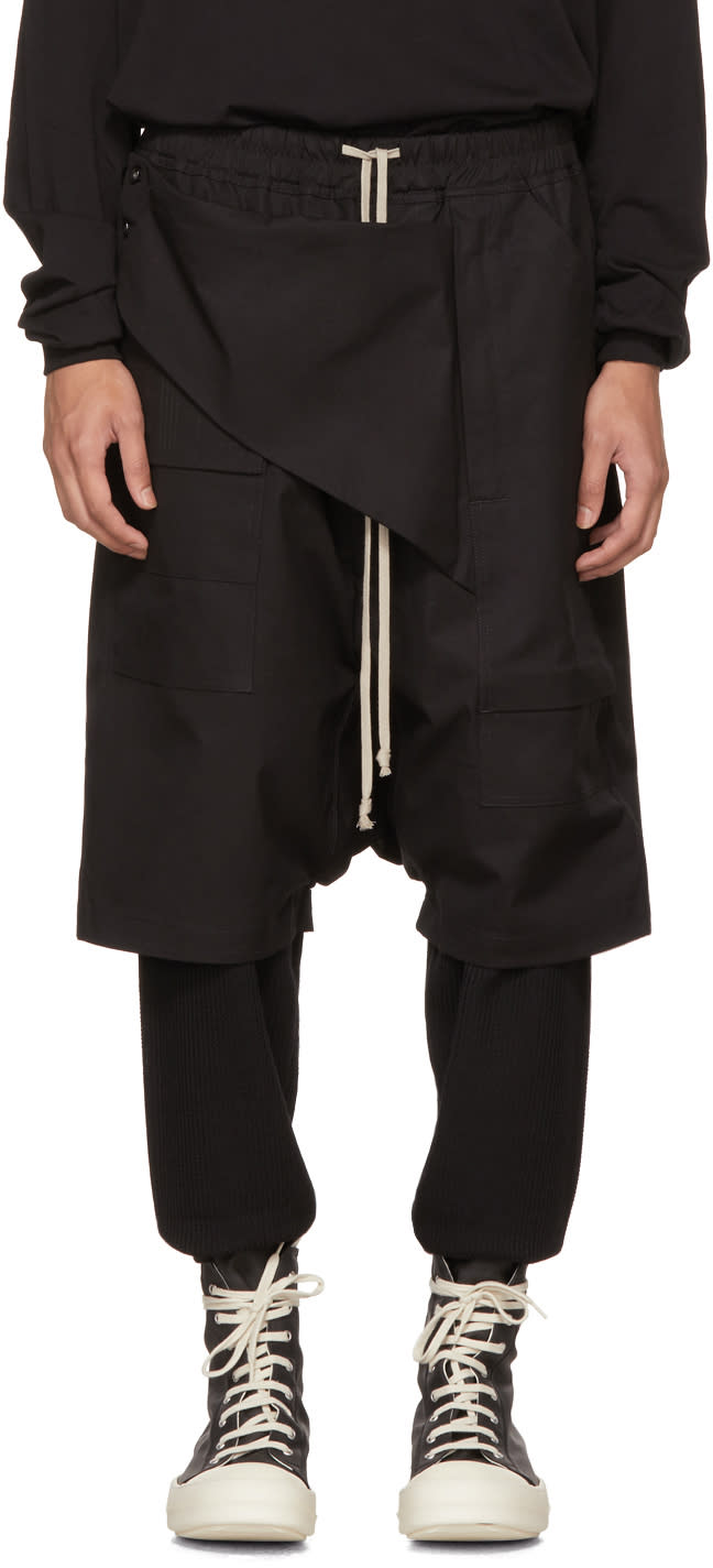 Image of Rick Owens Drkshdw Black Cotton Memphis Pods Shorts
