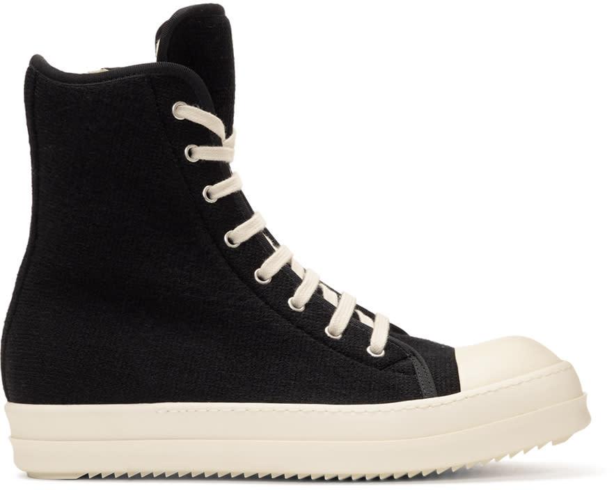 Rick Owens Drkshdw Black Wool Toe Cap High-top Sneakers