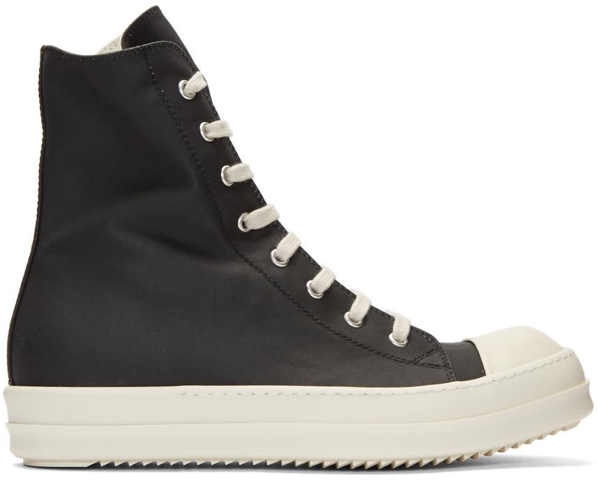 Image of Rick Owens Drkshdw Black Nylon Cap Toe High-top Sneakers