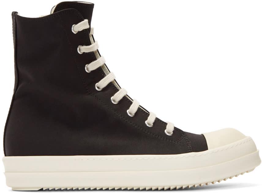 Image of Rick Owens Drkshdw Black Nylon Canvas Cap Toe High-top Sneakers