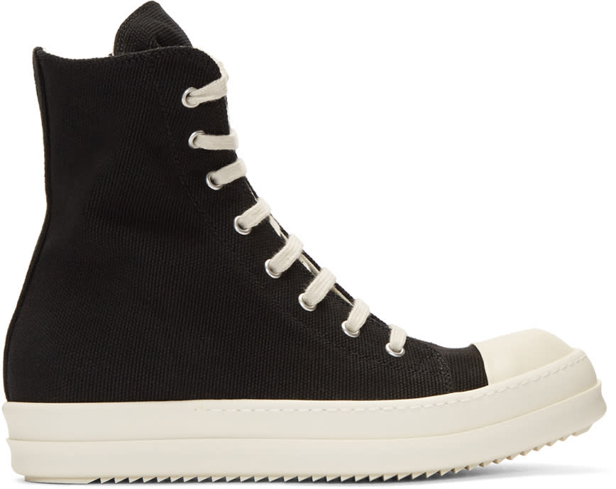 Image of Rick Owens Drkshdw Black Canvas Cap Toe High-top Sneakers