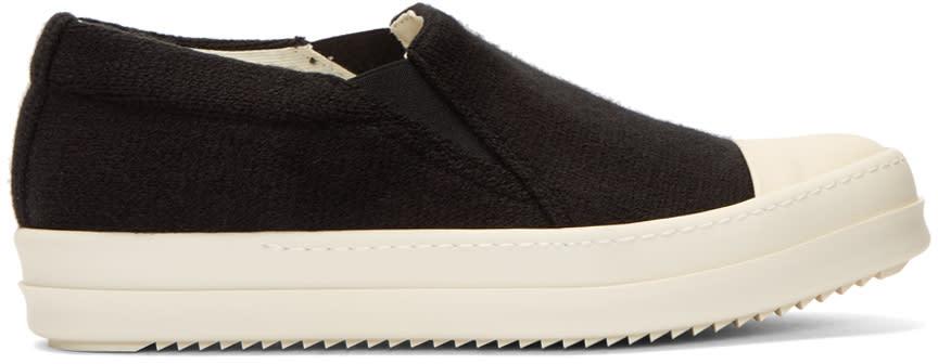 Rick Owens Drkshdw Black Wool Boat Slip-on Sneakers