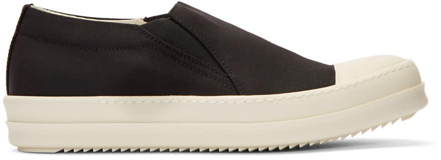 Rick Owens Drkshdw Black Nylon Boat Slip-on Sneakers