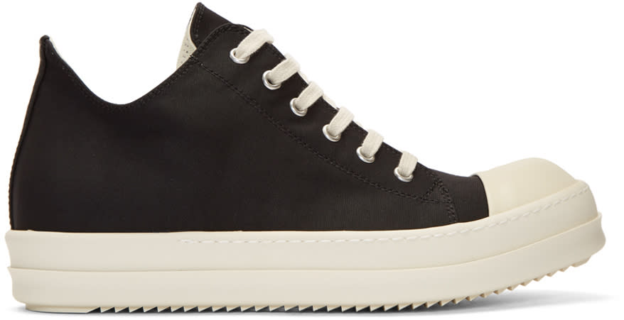 Image of Rick Owens Drkshdw Black Nylon Canvas Cap Toe Sneakers