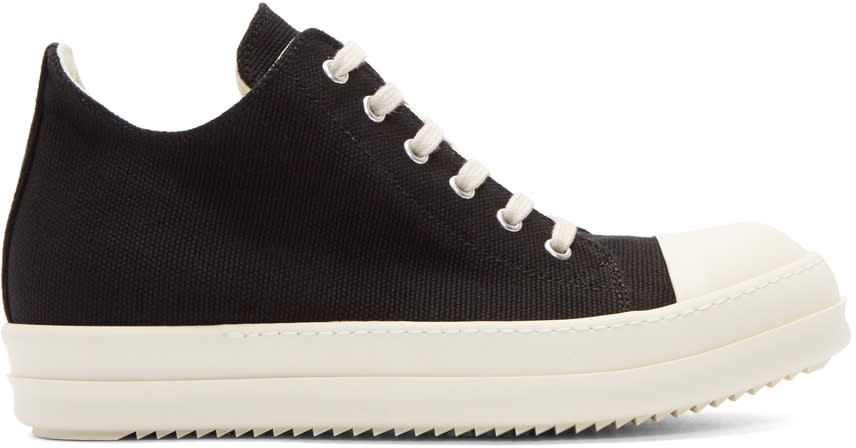 Image of Rick Owens Drkshdw Black and White Cap Toe Sneakers