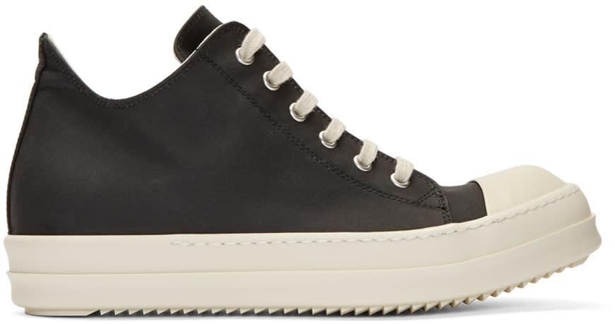 Image of Rick Owens Drkshdw Black Nylon Cap Toe Sneakers