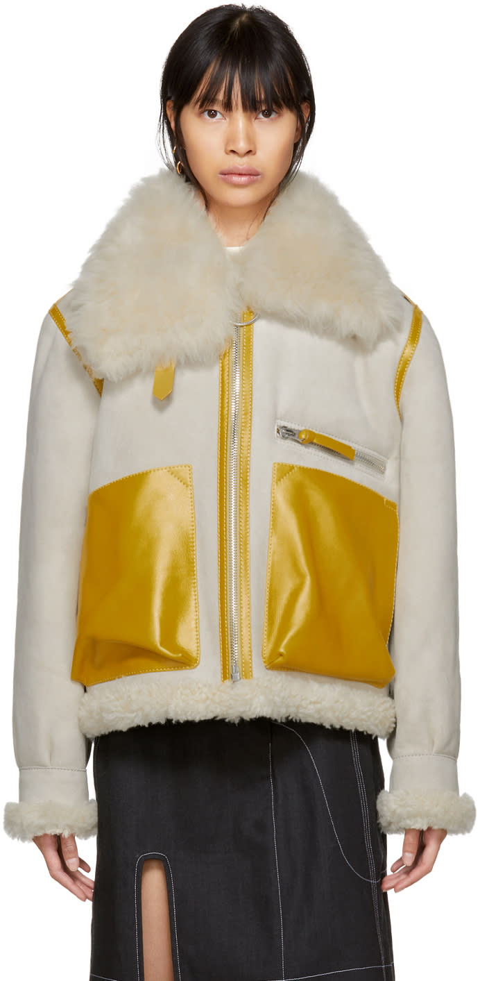 Acne Studios Grey and Yellow Shearling Lore Jacket