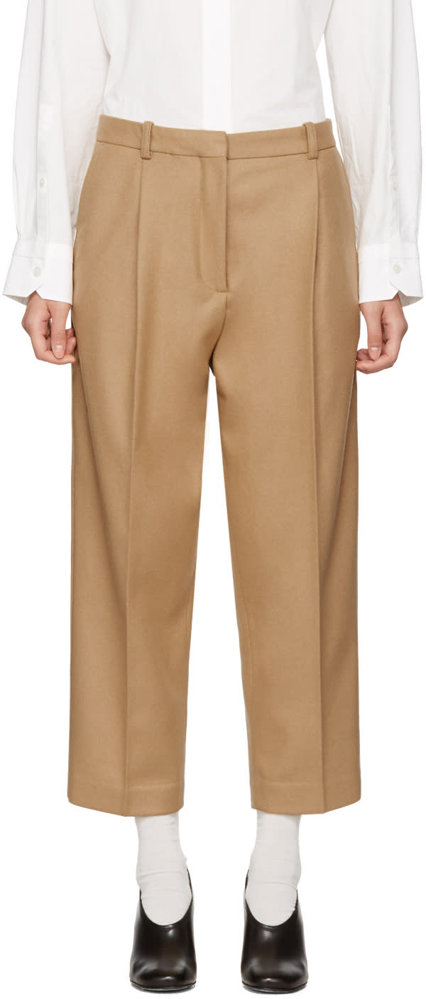 Image of Acne Studios Beige Tabea Cropped Trousers