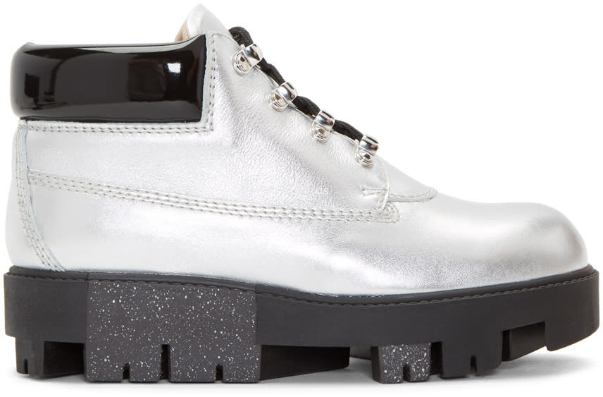 Acne Studios Silver Tinne Hiking Boots