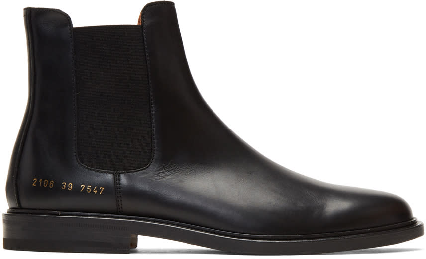Image of Common Projects Black Leather Chelsea Boots