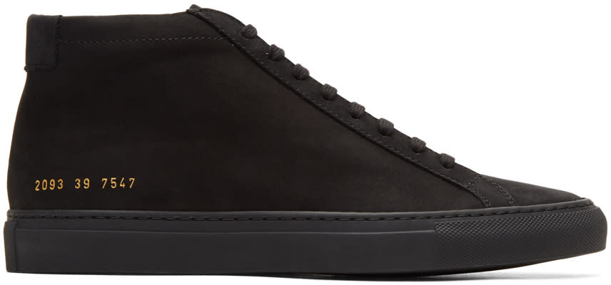 Image of Common Projects Black Nubuck Original Achilles Mid Sneakers