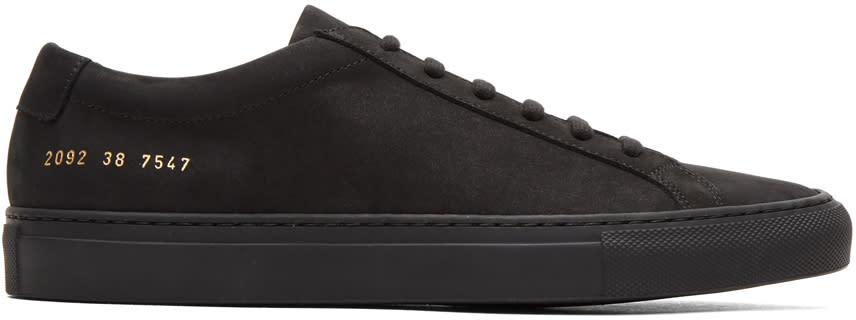 Image of Common Projects Black Nubuck Original Achilles Low Sneakers