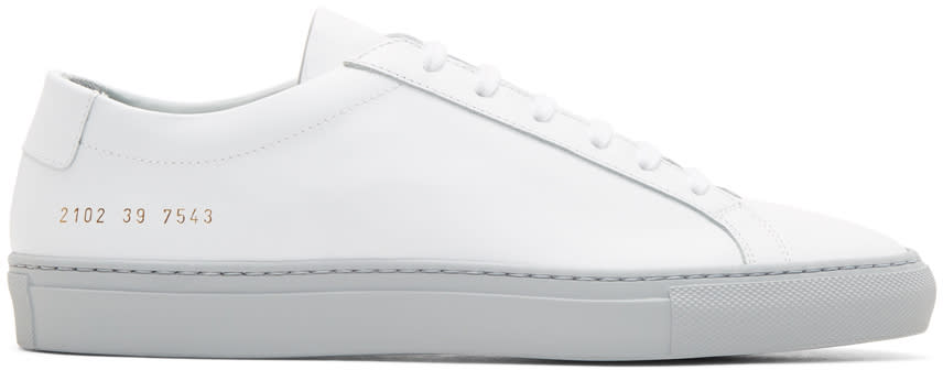 Common Projects ホワイト and グレー アキレス ロー カラー ソール スニーカー